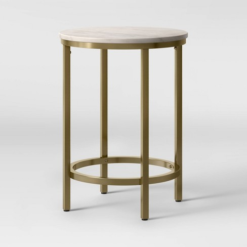 Greenwich Round Marble Top End Table, Marble Top Table Round
