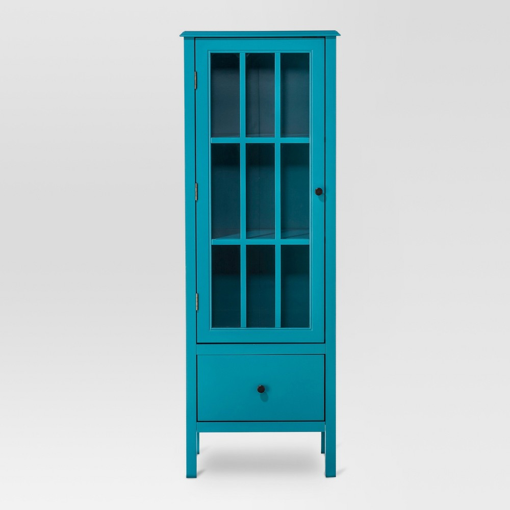 Windham 56 Narrow Library Cabinet with Door/Drawer Teal (Blue) - Threshold