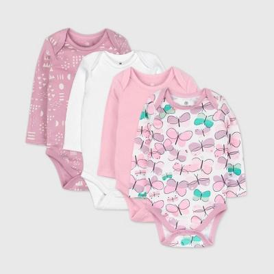 Honest Baby Girls' 4pk Organic Cotton Long Flutter Sleeve Bodysuit - Purple 3-6M
