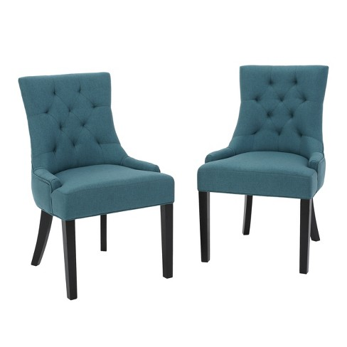 Hayden Tufted Dining Chairs Dark Teal Set Of 2 Christopher Knight Home