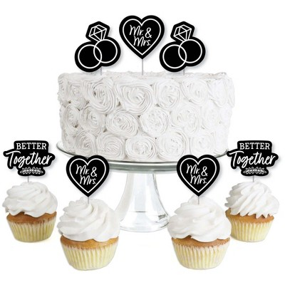 Big Dot of Happiness Mr. and Mrs. - Dessert Cupcake Toppers - Black and White Wedding or Bridal Shower Clear Treat Picks - Set of 24