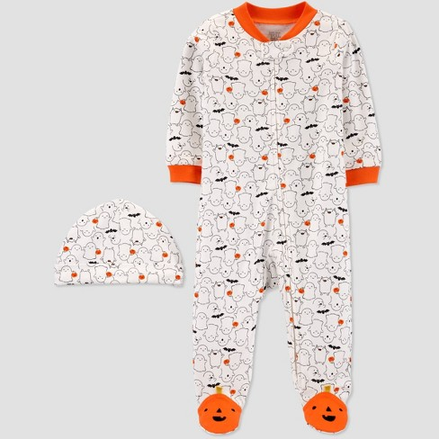 Baby Halloween White Ghost Print Sleep N' Pay with Hat - Just One You® made by carter's - image 1 of 1