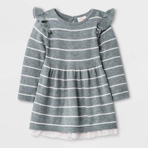 Baby Girls' Ruffle Sleeve Lurex Sweater Dress with Panty - Cat & Jack™ Gray - image 1 of 1