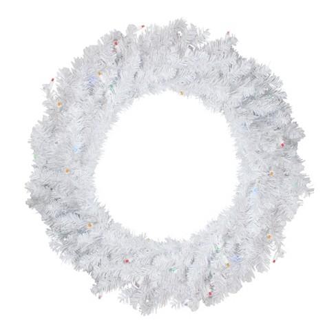 "Darice 30"" Prelit LED Snow White Christmas Wreath - Multi Lights - image 1 of 2"