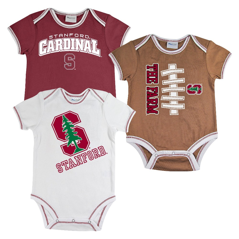 Stanford Cardinal (Red) Newborn Boys' 3pk Body Suit White S, Size: 6-9M