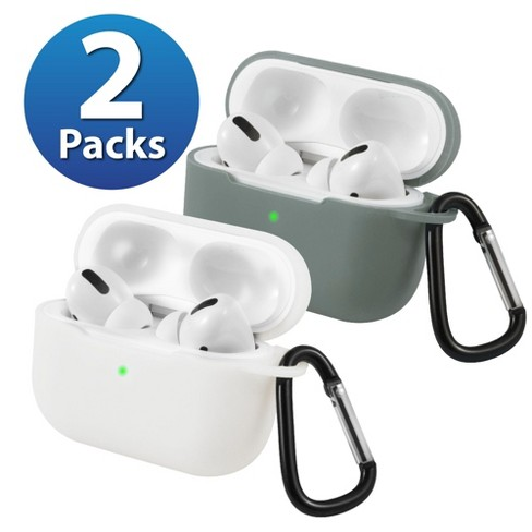 2-Pack For AirPods Pro Case [Midnight Green & White] Ultra Thin Silicone Protective Cover with Keychain For Apple AirPods Pro 2019 (3rd Gen) by Insten - image 1 of 1