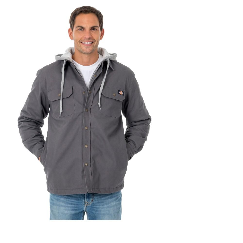 Dickies Men's Tall Hooded Canvas Shirt Jacket - Charcoal (Grey) 2XLT