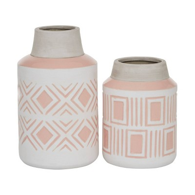 Set of 2 Round Geometric Textured Patterned Ceramic Vase Pink/White - Olivia & May