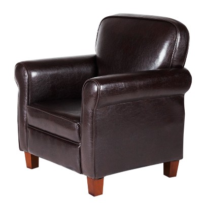 Kids Faux Leather Accent Chair With Rolled Arms Brown   Homepop : Target