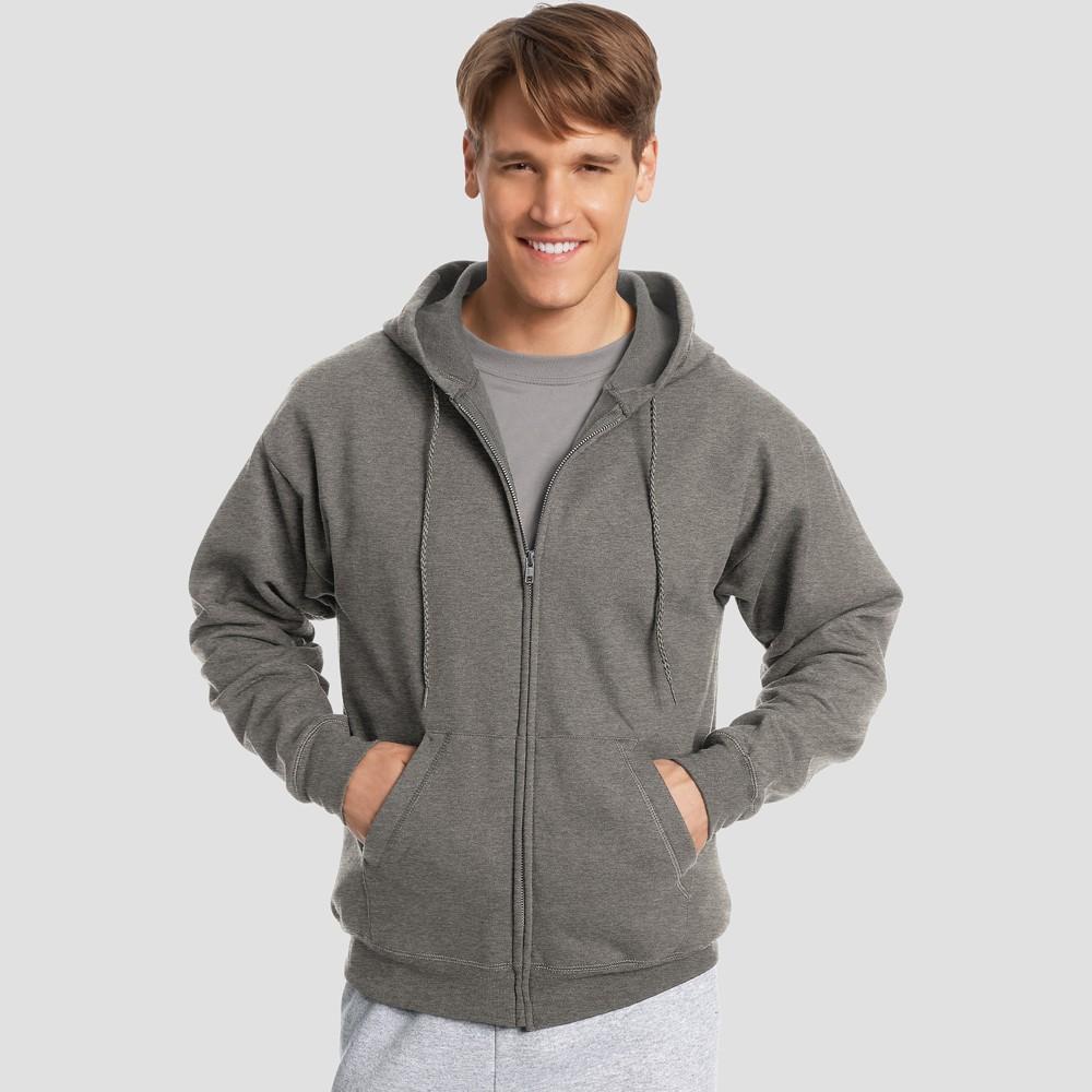 Best Sale Hanes Men EcoSmart Fleece Full Zip Hooded Sweatshirt Charcoal Heather 2XL