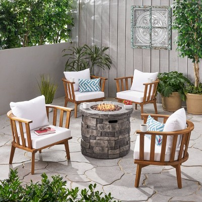 Whitehall 5pc Acacia Wood Club Chairs and Fire Pit Set  Teak/White/Gray - Christopher Knight Home