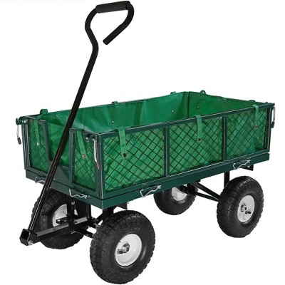 Sunnydaze Outdoor Lawn and Garden Heavy-Duty Steel Utility Cart with Removable Sides and Weather-Resistant Polyester Liner - Green