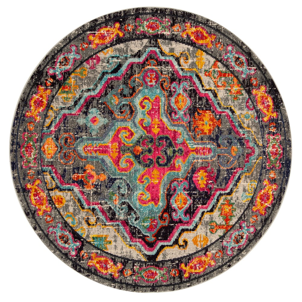 6'7 Medallion Loomed Round Area Rug Gray/Fuchsia - Safavieh, Pink Gray