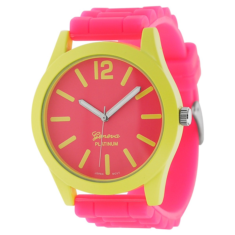 Women's Geneva Platinum Neon Color Pop Silicone Strap Watch - Pink/Yellow