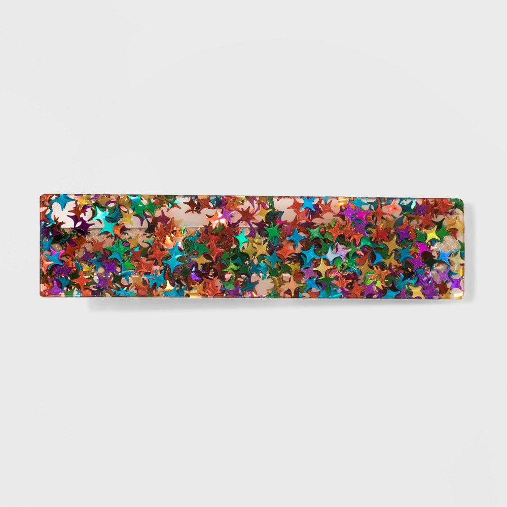 Image of Acrylic Multi Stars Metal Automatic Barrette - Wild Fable