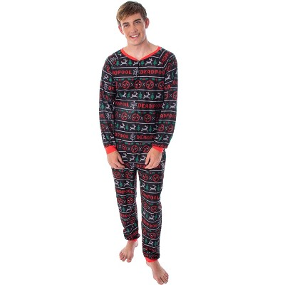 Marvel Men's Deadpool Costume Holiday Themed Union Suit Pajama Outfit