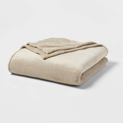 Full/Queen Microplush Bed Blanket Brown Linen - Threshold™
