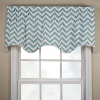 Ellis Curtain Reston High Quality Room Darkening Solid Natural Stylish Color Lined Scallop Window Valance - 50 x 17, Blue