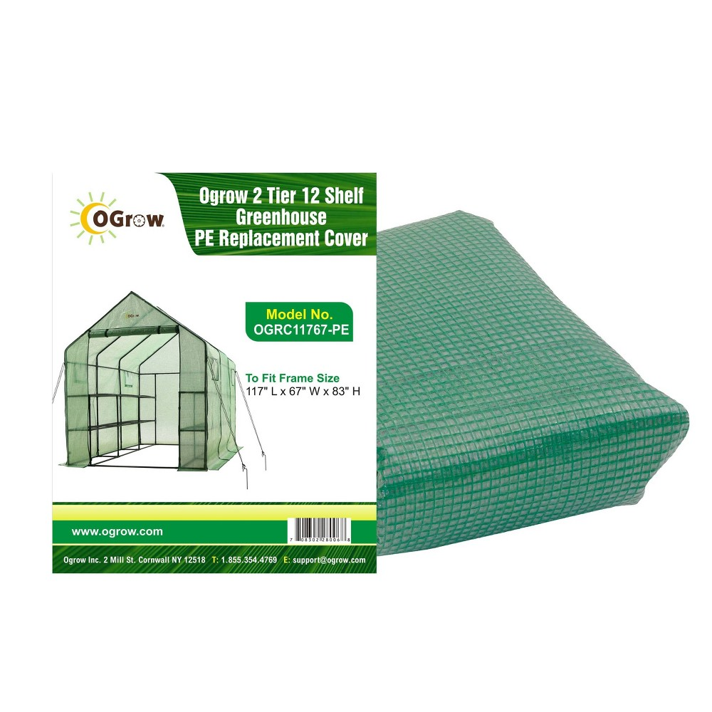 Image of 2 Tier 12 Shelf Greenhouse PE Replacement Cover Green - To Fit Ogrow Item OG11767-PE