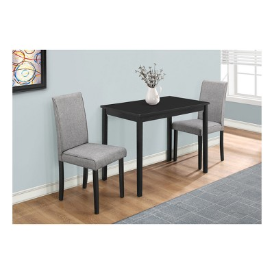 Dining Set   3 Piece   Black Metal U0026 Gray Linen Chairs   EveryRoom