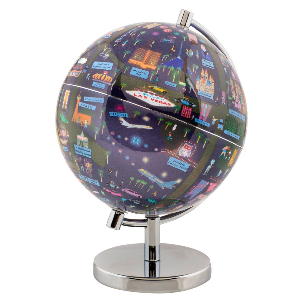 Globee Las Vegas 9 Illustrated Globe, Multi-Colored See Las Vegas at night in the form of an illuminated globe. The Las Vegas Night Light Globe is 9-inches in diameter and comes with a chrome silver stand. The globe depicts all the major landmarks and tourist sites of the city as well as the major streets and some of the famous characters associated with it and includes a 16 page informational booklet. Makes a wonderful gift or addition to any room. This globe is illuminated using Led lights within the globe and powered by Aaa batteries which are not included. You will never need to replace a light bulb! Color: Multi-Colored. Age Group: Adult.