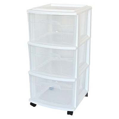 3 Drawer Medium Cart - Room Essentials™ 3-Drawer Storage Clear/White : Target
