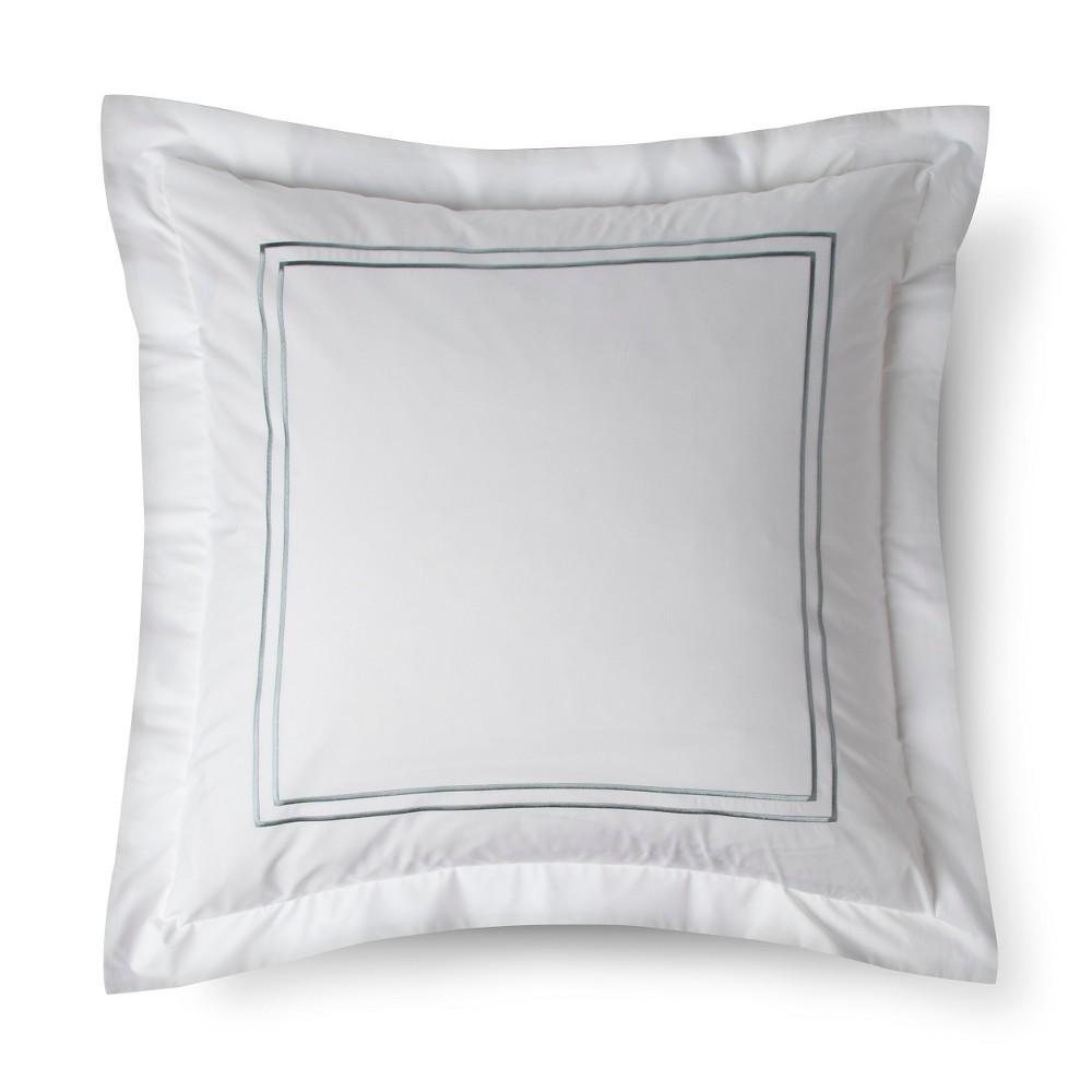 Classic Hotel Pillow Sham (Euro) White&Blue - Fieldcrest