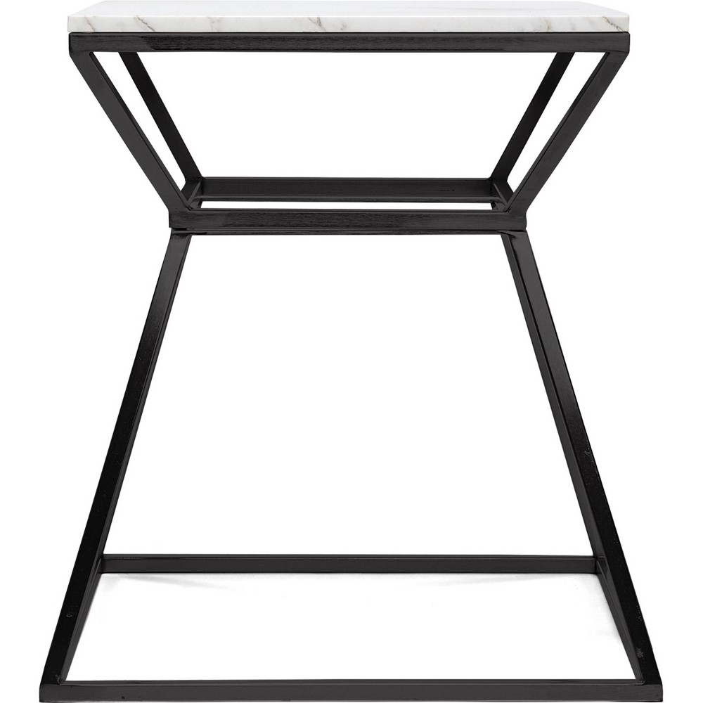 "Image of ""22"""" Audrey Marble Side Table High Black - Adore Décor"""