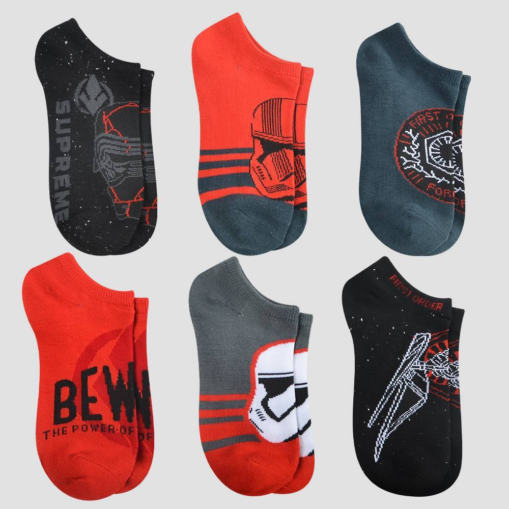 Image of Boys' 6pk Star Wars No-Show Socks - Black M/L, Boy's, Size: Medium/Large