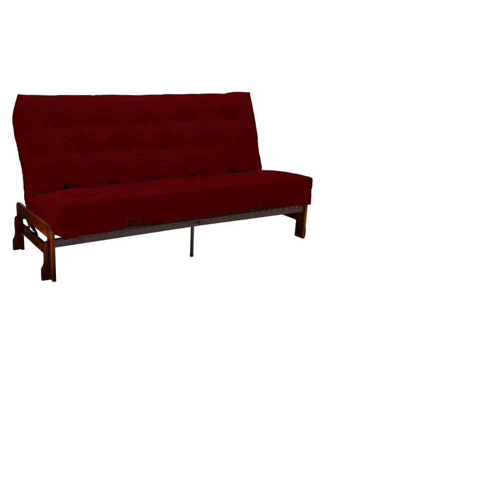 Low Arm 8 Cotton & Foam Futon Sofa Sleeper Walnut Wood Finish - Epic Furnishings, Twill Red