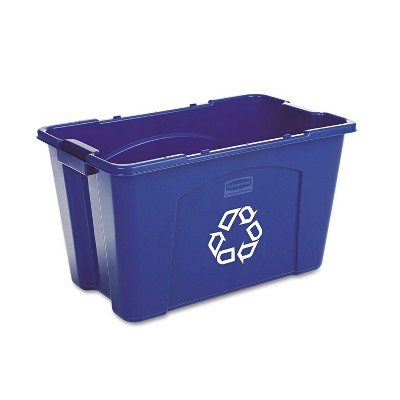 Rubbermaid Commercial Stacking Recycle Bin Rectangular Polyethylene 18gal Blue 571873BE