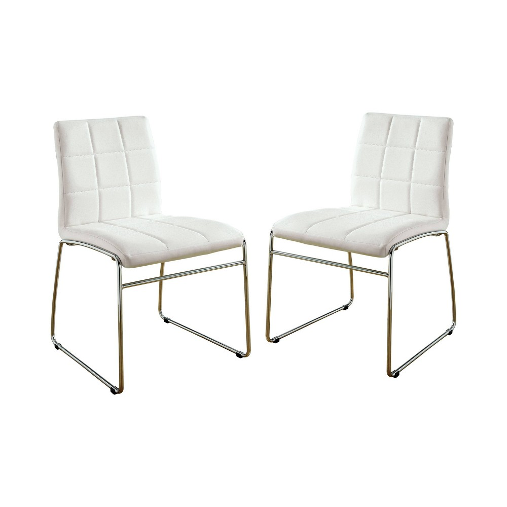 Set of 2 Aneston Square Gridded Leatherette Side Chair White - ioHOMES