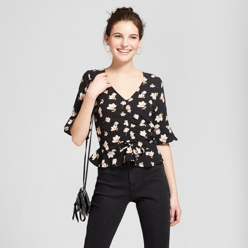 b55f4e191be36 Women s Flounce Sleeve Tie Front Top - Almost Famous (Juniors ) Black