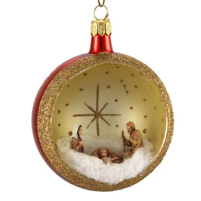 """Italian Ornaments 5.0"""" 80Mm Ball Nativity Ornament Italian Religious  -  Tree Ornaments"""