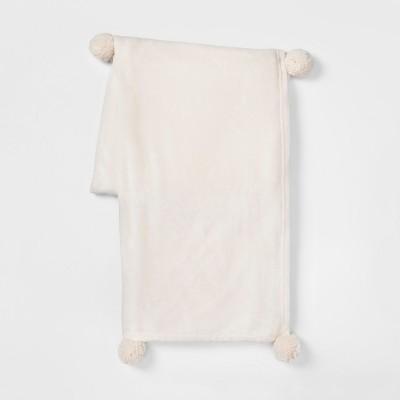 60 x50  Plush with Poms Throw Blanket Cream - Room Essentials™