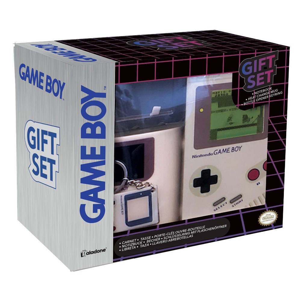 Nintendo Game Boy Gift Set Includes Paper-back notebook with lewnticular screen panel and 100 lined pages, Shaped dolomite mug with Game Boy design and cookie pocket, Metal Game boy bottle opener based on the iconic 1989 handheld game console Gender: unisex.
