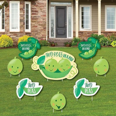 Big Dot of Happiness Double the Fun - Twins Two Peas in a Pod - Yard Sign & Outdoor Lawn Decor - Baby Shower or 1st Birthday Yard Signs - Set of 8