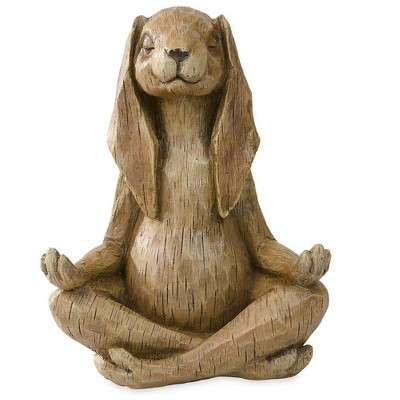 Wind & Weather Yoga-Pose Rabbit Resin Garden Statue With Look of Carved Wood