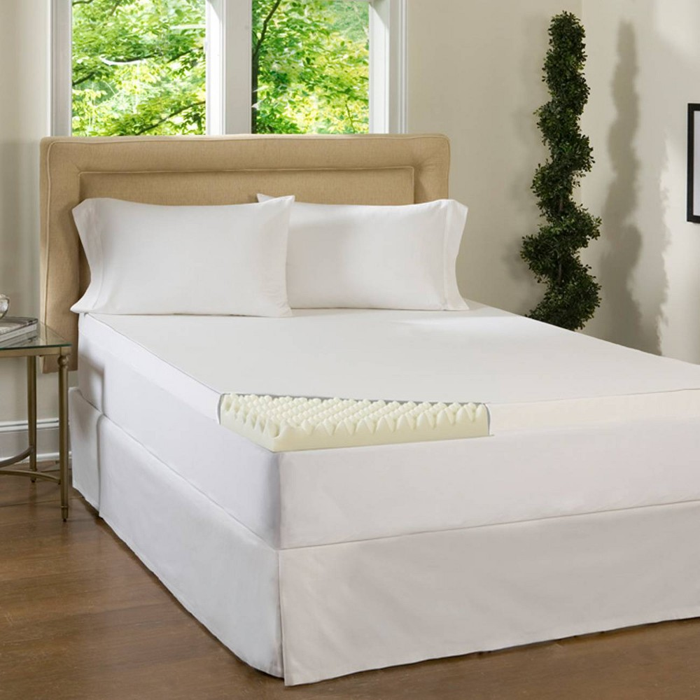 "Image of ""ComforPedic Loft from Beautyrest 3"""" Textured Memory Foam Topper - White (Cal King), Size: California King"""