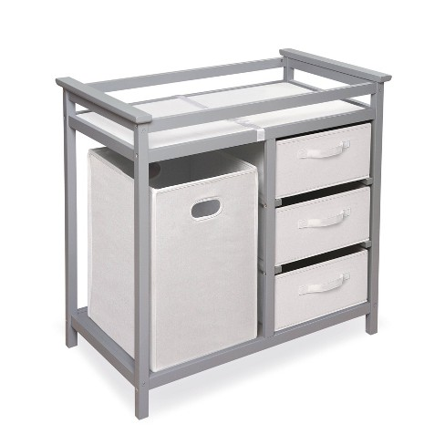 Badger Basket Modern Baby Changing Table with Hamper and 3 Baskets - Gray