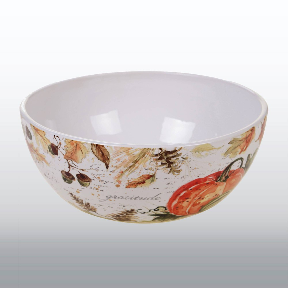 Image of 112oz Earthenware Harvest Splash Deep Serving Bowl White - Certified International