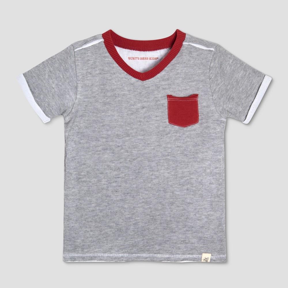 Burt's Bees Baby Toddler Boys' Jersey Pocket Short Sleeve T-Shirt - Heather 4T, Gray