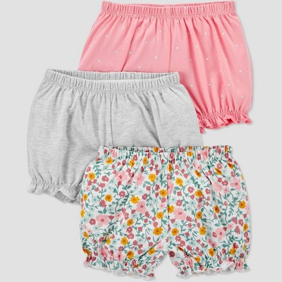Baby Girls' 3pk Bloomer Pull-On Shorts - Just One You® made by carter's Pink/Gray Newborn
