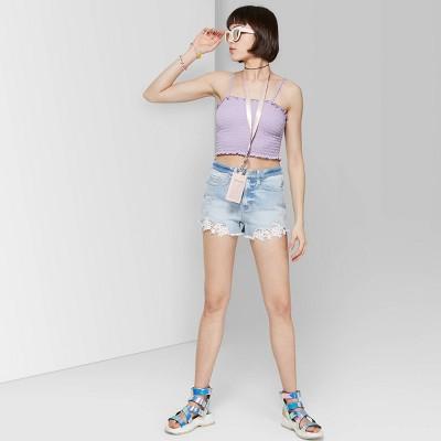 Women's High-Rise Crochet Hem Jean Shorts - Wild Fable™ Light Wash 18