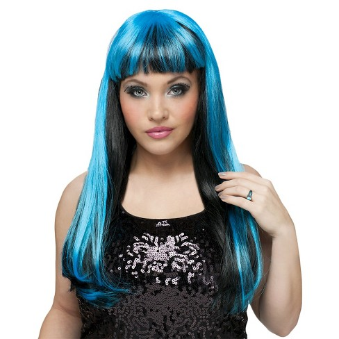 Black and Neon Blue Women's Wig - image 1 of 1