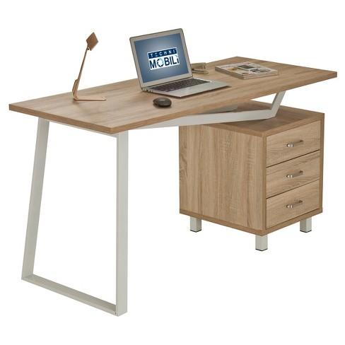 Modern Design Computer Desk with Storage Sand Stone - Techni Mobili