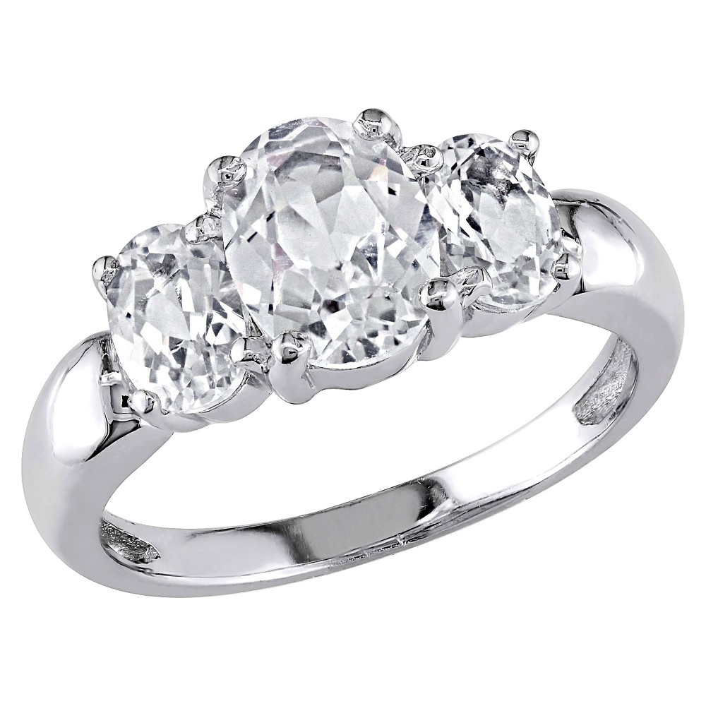 3 1/2 CT. T.W. Simulated White Sapphire 3 Stone Ring in Sterling Silver - 5 - White