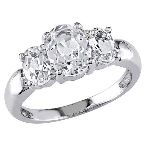 3 1 2 Ct T W Simulated White Sapphire 3 Stone Ring In Sterling