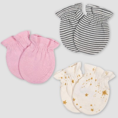Gerber Baby Girls' 3pk Princess Mittens - Pink/Ivory 0-3M