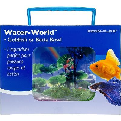 Penn-Plax Goldfish Betta Fish Bowl With Decorations Plastic 1.25 Gallon